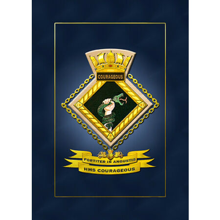 img-HMS COURAGEOUS SHIPS BADGE/CREST - HUNDREDS OF HM SHIPS IN STOCK