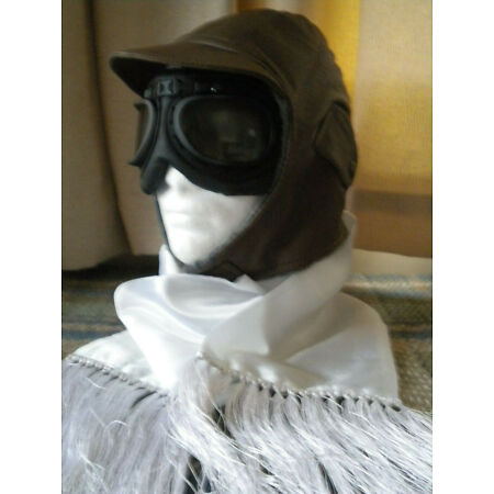 img-BROWN FLYING HELMET, GOGGLES, SCARF CLASSIC CAR OR GOODWOOD REVIVAL