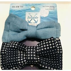 Petco Dog Bow Ties Set Of 2 - Denim And Blue Star Dots NEW!
