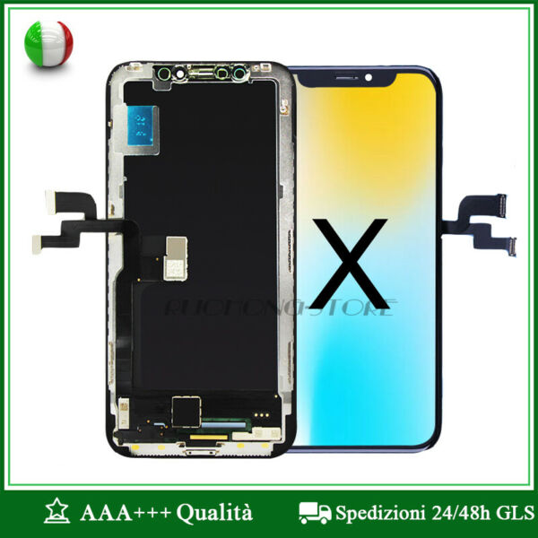 DISPLAY LCD OLED APPLE IPHONE X SCHERMO TOUCH SCREEN SCHERMO VETRO TIANMA NERO
