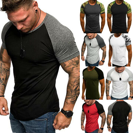 img-Men T-Shirt Tops Casual Fitness Gym Muscle Training Slim Tee Shirts Summer