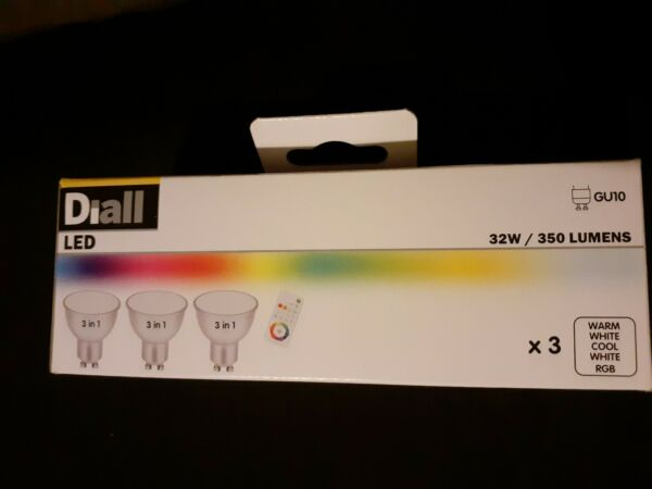 Diall GU10 5W 350lm Reflector Cool white, RGB & warm white LED Dimmable New x3