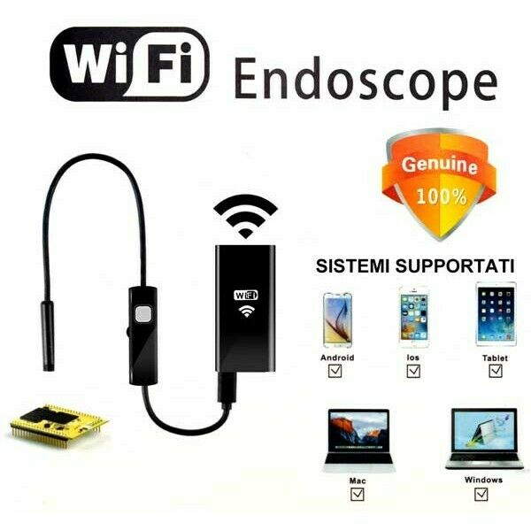 TELECAMERA ENDOSCOPICA WIFI PER ISPEZIONE ENDOSCOPIO IPHONE ANDROID 2 METRI
