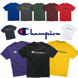 Kyпить Champion T-Shirt (11 Colors)(S-3XL) Script Logo Adult Tee Cotton Athletic Fit  на еВаy.соm