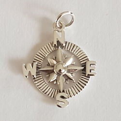 925 Sterling Silver Detailed Compass Ishtar Star Circle Charm Pendant 25 x 31mm