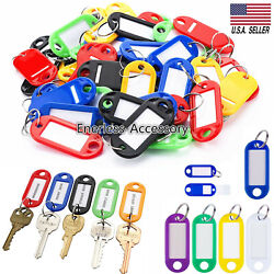 Kyпить 50/100 Plastic Key Tags Metal Ring Luggage Card Name Label Keychain Split Rings на еВаy.соm