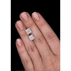 Kyпить 2.50 Ct Princess Cut Solitaire Studs Earrings Solid 14k White Gold Push Back  на еВаy.соm