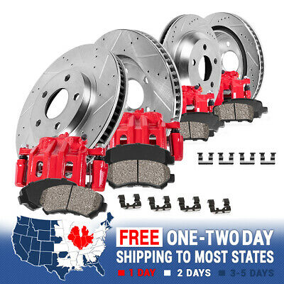 Front+Rear Brake Calipers +Rotors + Ceramic Pads For Durange Jeep Grand Cherokee