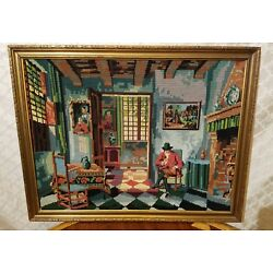 Kyпить STUNNING LARGE FRAMED VINTAGE BEAUTIFUL NEEDLEPOINT GREAT SUBJECT на еВаy.соm