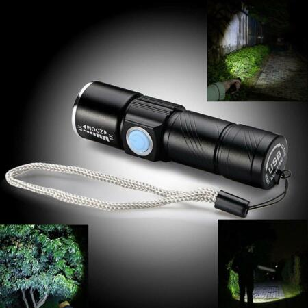 img-Outdoor Protable LED CREE Light Tactical USB Rechargeable Flashlight Torch Lamp
