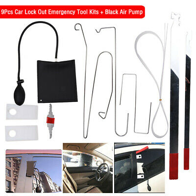 10pcs Car Door Open Tool Key Lock Out Emergency Kit Unlock + Air Pump Universal