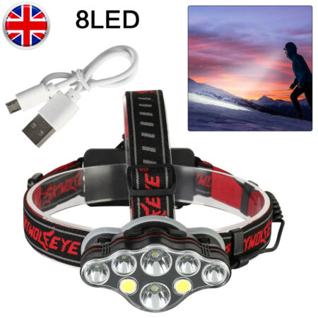 img-350000LM T6LED Headlamp Headlights Torch Rechargeable Night Hiking Fishing Work