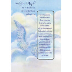 Wings in Blue Sky Angel By Your Side Religious Birthday Card with Bookmark