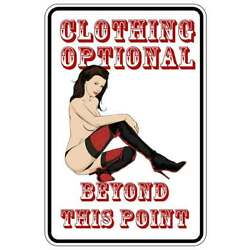 CLOTHING OPTIONAL SEXY sign Metal funny man cave house decor B1330