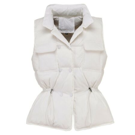 img-Women Duck Down Waistcoat Puffer Vest Padded Quilted Outerwear Sleeveless White