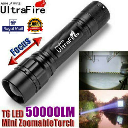 img-Tactical Zoomable 50000LM 3-Modes T6 LED 18650 Police Flashlight Torch Lamp UK