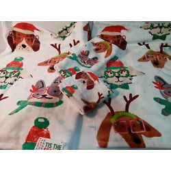 Holiday Set Of 2 Bath Towels,1 Hand,1 Wash Santa Paws Dogs With Silly Glasses