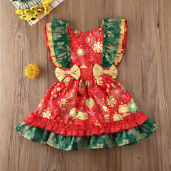 NWT Christmas Holiday Ornaments Girls Red Gold Ruffle Dress 2T 3T 4T