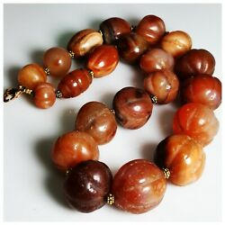 Kyпить African old carnelian carved stone beads lovely necklace 20 inches   # 116 на еВаy.соm