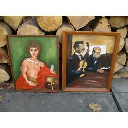 Kyпить Vintage lot of two Oil on Canvas paintings Mid Century unusual interesting на еВаy.соm