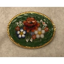 Kyпить MULTICOLOR GLASS FLOWER MOSAIC OVAL BROOCH MADE IN ITALY на еВаy.соm