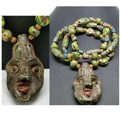 Kyпить Old Phoenician glass face pendant mosaic beads necklace 26 inches на еВаy.соm