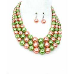 Kyпить Pink and Green Pearl Alpha Kappa Alpha AKA Inspired Necklace Set на еВаy.соm