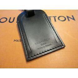 Kyпить Authentic Louis Vuitton Large Black Leather Luggage Tag w/ Brass hw  UNSTAMPED на еВаy.соm