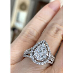 Kyпить 14K White Gold 1.50 CT Pear Diamond Halo Ring H/I1 Size 8, 3 Band Style NWOT на еВаy.соm