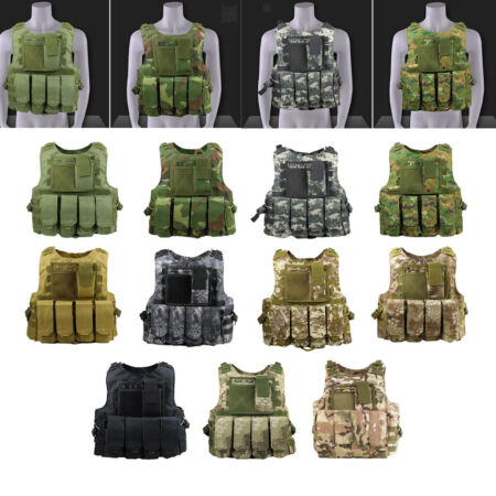 img-Tactical Vest MOLLE Protective Paintball Waistcoat w/ Detachable Pouches