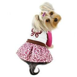 Sparkling Embroidered Dog Dress With Butterfly Top & Leopard Print Skirt By Klip