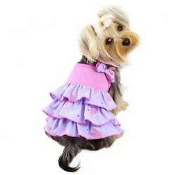 Pink & Purple Dog Dress With Shimmering Hearts & Ruffles By Klippo