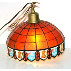 Kyпить Heileman's Old Style Beer Hanging Bar Light Plastic Faux Stained Glass Vtg Works на еВаy.соm
