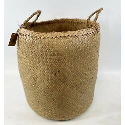 Creative Co-Op Co Op XL Large 18.5'' X 14'' Two Handle Natural Sweetgrass Basket