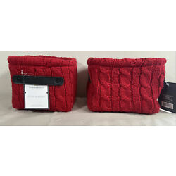 Red Knit Basket With Black Leather Strap Threshold-5in x 7in x 6in Lot of 2 NWT