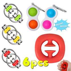 Kyпить 6pcs Fidget Simple Dimple Toy Stress Relief Silicone Grip Toy Chain Flippy Chain на еВаy.соm