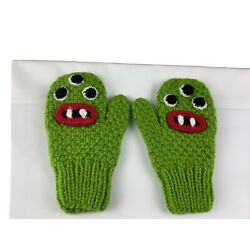 Kyпить Adorable toddler Monster knitted mittens NEW lime green на еВаy.соm
