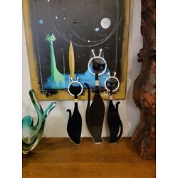 BLACK Atomic Space Cats Wall Art Mid Century Laser Sculpture Mod Lovers