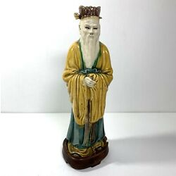 Kyпить Detailed Ceramic Chinese Man Dignitary Statue Figurine on Stand 8