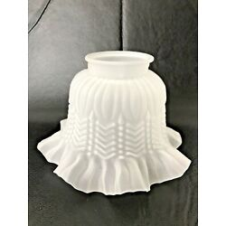 Kyпить Vintage Frosted Glass Lamp Shade ~Ruffled Embossed Scalloped ~ 3