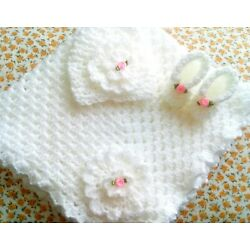 Kyпить Hand Crochet Baby Blanket Set With Matching Hat And Booties на еВаy.соm