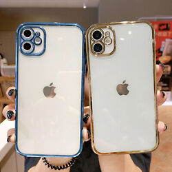 For iPhone 13 12 11 Pro Max XS 8 7+ Shockproof Clear Plating Silicone Case Cover