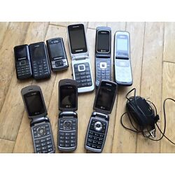 LOT OF NINE(9) VINTAGE CELL / FLIP PHONES W/batteries + Nokia Charger - Untested