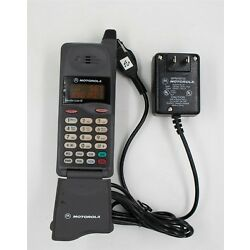 Vintage 1990s Motorola MicroTAC 650e Large Flip Bottom Cell Phone w Charger