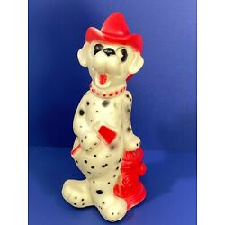 Vtg Unbranded Dalmatian Dog Fireman Hydrant Axe Squeak Toy Dog Baby Kid Squeeze