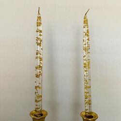 """Vintage Pair Acrylic Lucite Clear Taper Candles with Gold Foil Flakes Flecks 12"""""""