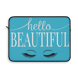 Hello Beautiful Inspirational Affirmations White & Teal Laptop or Ipad Protectiv