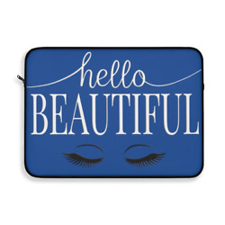 Hello Beautiful Inspirational Affirmations White & Blue Laptop or Ipad Protectiv