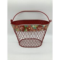 Pioneer Woman Chicken Wire Basket Red Teal Floral 9.5  W x 6  D x 6  H