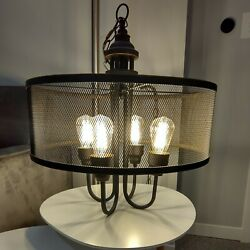 Industrial Mini Chandelier, Metal Drum Style LED Edison Bulb Ceiling Hung Lamp